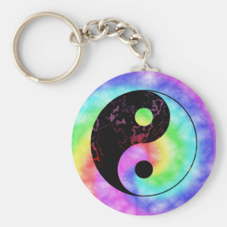 Faded Rainbow Yin Yang Keychain