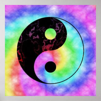 Faded Rainbow Yin Yang Poster