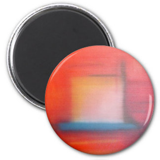 Faded Red Abstract Oil Painting 6 Cm Round Magnet