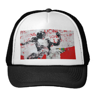 Faded Red and White Graffiti with African Stencil Cap
