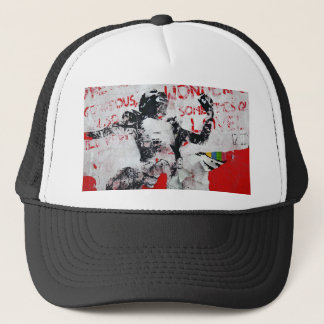 Faded Red and White Graffiti with African Stencil Trucker Hat
