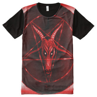 Faded Red Baphomet Symbol Airbrush Art All-Over Print T-Shirt