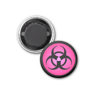 Faded Red Biohazard Symbol Magnet