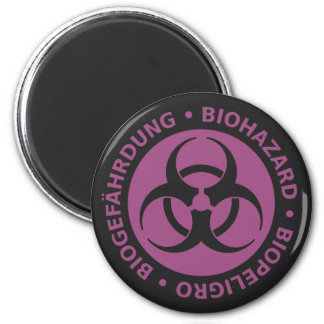 Faded Red Trilingual Biohazard Warning 6 Cm Round Magnet