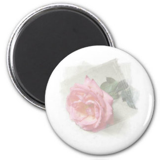 faded rose 6 cm round magnet