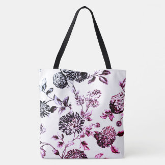 Faded Rose Botanical Floral Toile Tote Bag