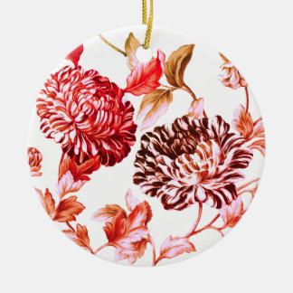 Faded Rose Garden Botanical Floral Round Ceramic Decoration