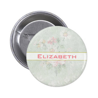 Faded Roses Shabby Vintage Design Personalized 6 Cm Round Badge
