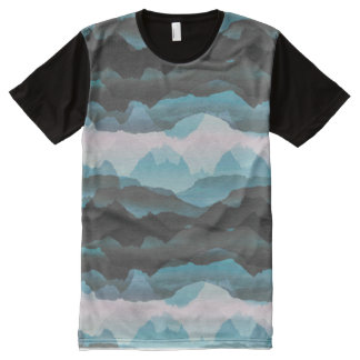 Faded stylised blue mountains All-Over print T-Shirt