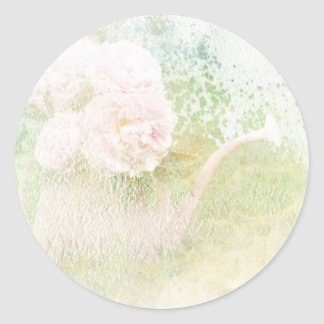 Faded Textures Peony Bouquet Round Sticker