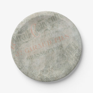 Faded Vintage Paper Parisian Advertisement Collage 7 Inch Paper Plate