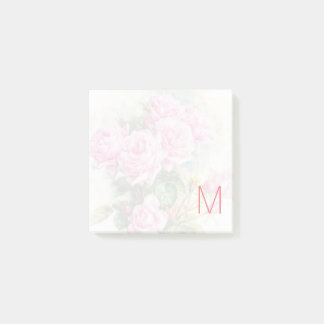 Faded Vintage Pink Roses with Monogram Post-it Notes
