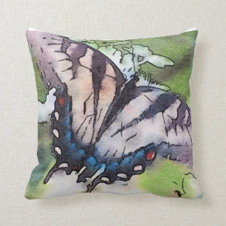 Faded Watercolor Butterfly over Hydrangea Cushion