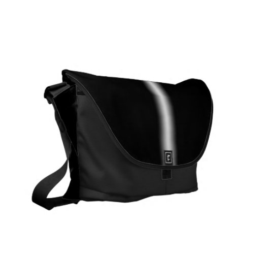 Faded White Stripe on Black Messenger Bag