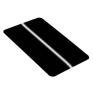 Faded White Stripe on Black Rectangular Magnets