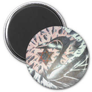 fading swan 6 cm round magnet