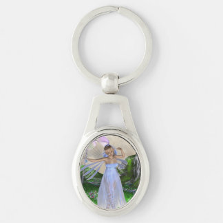 Fae Silver-Colored Oval Key Ring
