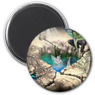 Faerie in Elven Pond Refrigerator Magnet