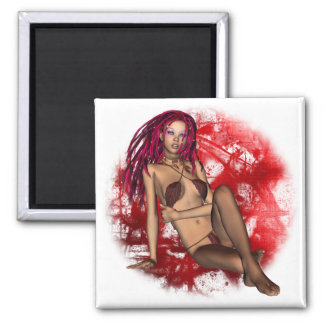 Faerie in Red Square Magnet