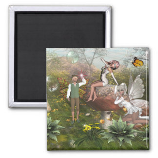 Faerie land1 square magnet