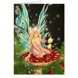 Faerie on a mushroom - Greeting Card by Neil