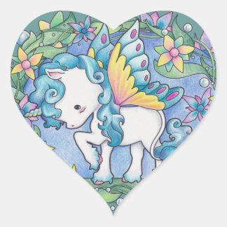 Faerie Unicorn Heart Sticker