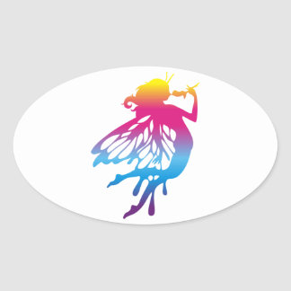 Faerie with beautiful colors oval sticker