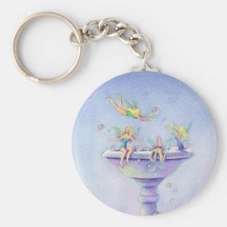FAERIES BUBBLEBATH by SHARON SHARPE Basic Round Button Key Ring