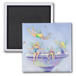 FAERIES BUBBLEBATH by SHARON SHARPE Square Magnet