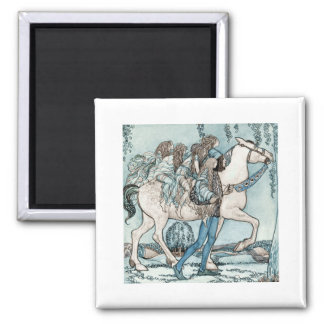 Faeries on a White Stallion Square Magnet