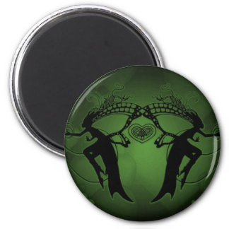 Faery Hearts Green 6 Cm Round Magnet
