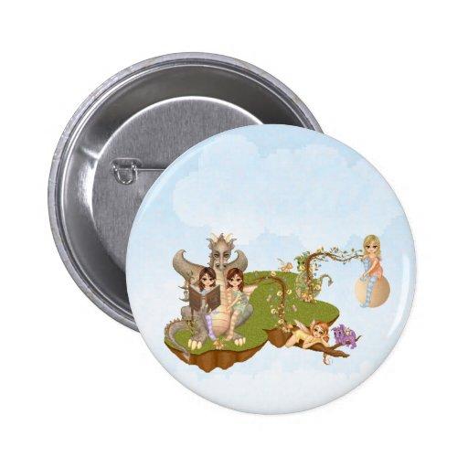 Faery Land Friends Pixel Art Pinback Button