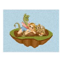 Faery Land Friends Pixel Art Postcard