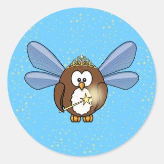 faery owl round stickers