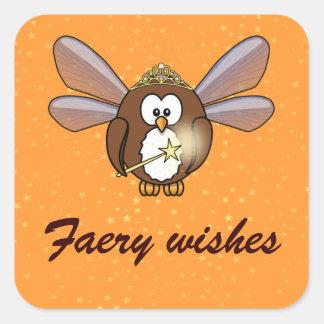 faery owl square sticker