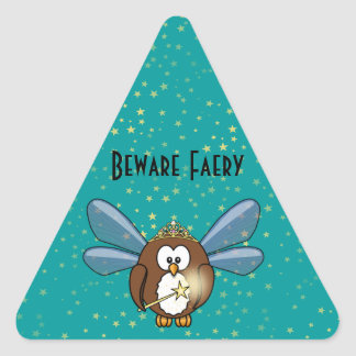 faery owl triangle sticker