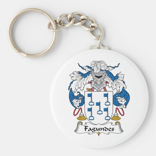 Fagundes Family Crest Basic Round Button Key Ring