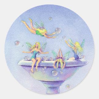 FAIERIES BUBBLE BATH by SHARON SHARPE Round Sticker