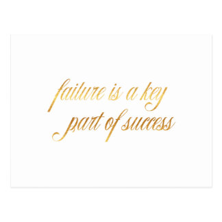 Failure Success Quote Gold Faux Foil Inspirational Postcard