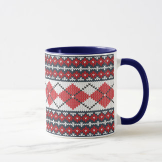 Fair Isle Argyle Blue and Red Monogrammed