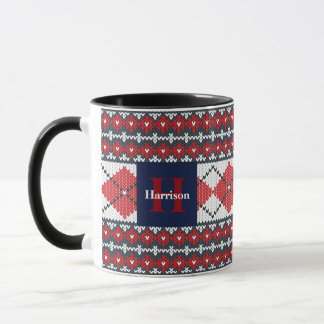 Fair Isle Argyle Blue and Red Monogrammed Mug