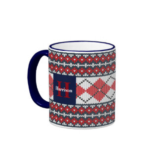 Fair Isle Argyle Blue and Red Monogrammed Ringer Mug