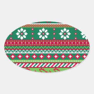Fair Isle Christmas Pattern Oval Sticker