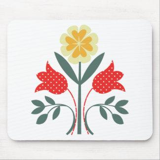 Fair isle floral pattern folk art print mouse mat