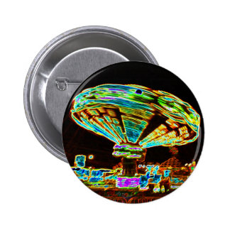Fair ride Swings Blur Black and Neon 6 Cm Round Badge