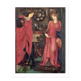 Fair Rosamund and Queen Eleanor (mixed media on pa Postcard