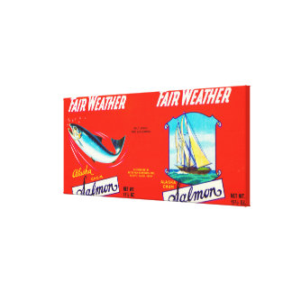 Fair Weather Brand Salmon Label- Seattle, WA Canvas Print