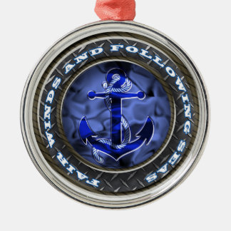 Fair winds and following seas anchor Silver-Colored round decoration