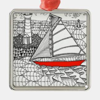 Fair Winds Zentangle for Sailors Christmas Tree Ornament