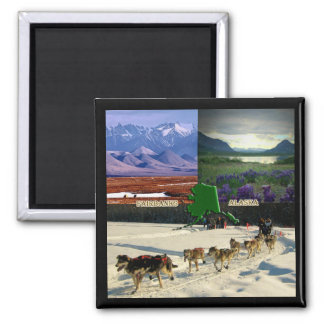 Fairbanks, Alaska Collage Square Magnet